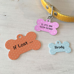 Personalised Pet ID Tag Dog Bone - more