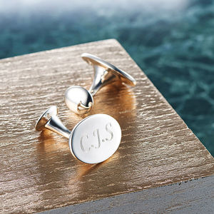 Solid Silver Oval Cufflinks - gifts for him