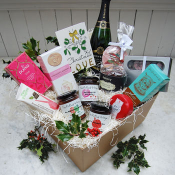 'Christmas Love' Hamper With Sparkling Wine