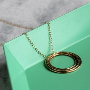 Concentric Circle Long Necklace Gold Fill - fashion jewellery