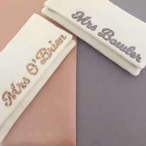Mrs Surname Bridal Wedding Day Clutch - bags