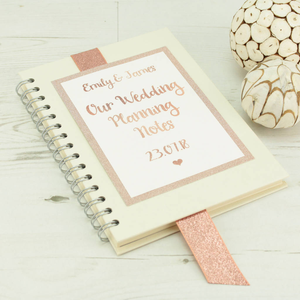 Personalised rose gold wedding planning notebook by dreams for Dreams by design planner