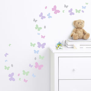 Childrens Butterfly Flutter Wall Stickers Set
