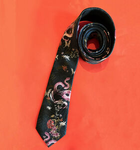 'Enticement' Silk Tie Navy Blue With Pink Snake
