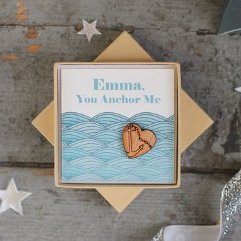 Personalised You Anchor Me Heart Pin