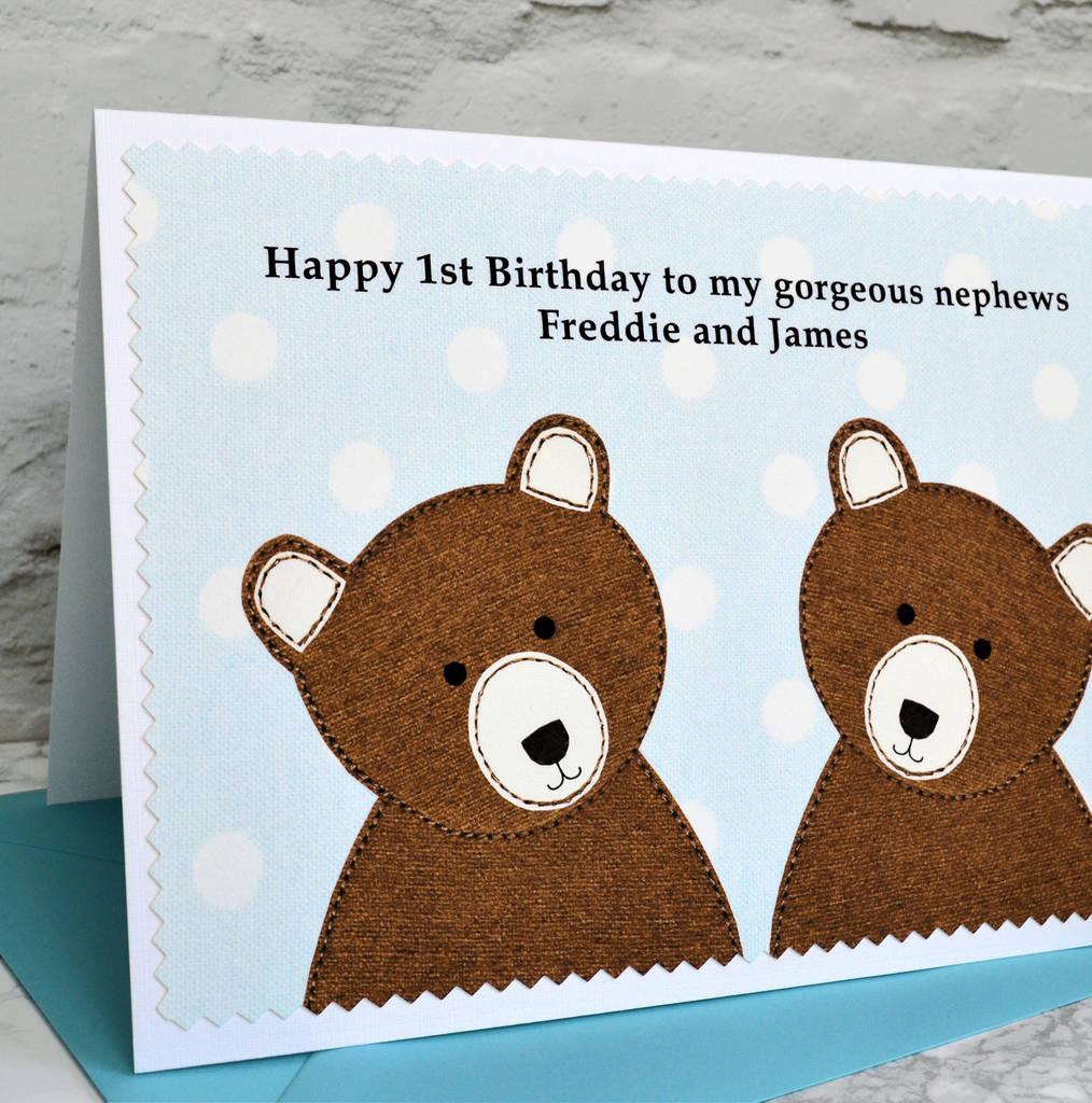 Bears personalised twin boys new baby birthday card by jenny boy twins birthday card personalise for any birthday kristyandbryce Gallery