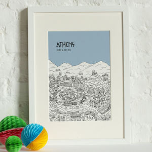 Personalised Athens Print - maps & locations