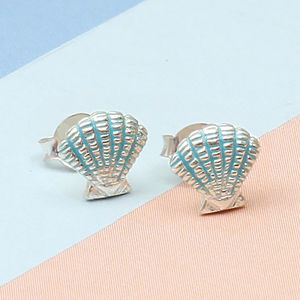 Girl's Tiny Sterling Silver Shell Earrings