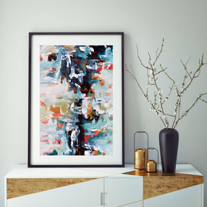 Modern Blue Abstract Art Print Decor