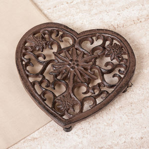 Antique Brown Cast Iron Heart Floral Scroll Trivet