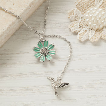 Silver Bird And Flower Necklace