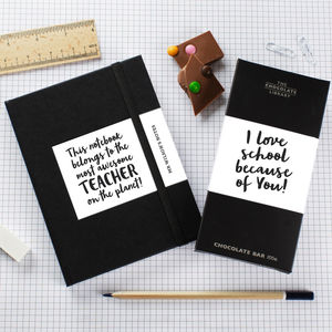 Awesome Teacher Chocolate Bar And Notebook Gift Set - gifts for teachers