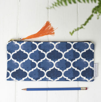 Isabel Pencil Case, Blue Geometric Pattern