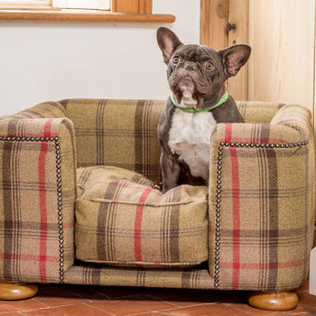 Tetford Square Chesterfield Dog Bed In Balmoral Tweed