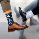 Dark Blue And Orange Retro Socks