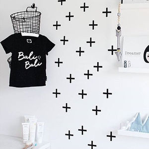 Monochrome Nordic Crosses Wall Stickers - wall stickers