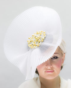 White Headpiece With Gold And Pearl Beading Detail - hats & fascinators