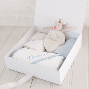 Personalised Embroidered Gift Set For Baby Boy - bathtime