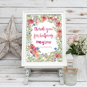 'Thank You For Helping Me Grow' Floral Poster