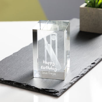 Personalised Engraved Glass Cricket Gift