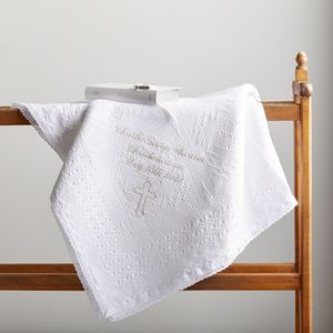 White Cotton Christening Blanket - sleeping