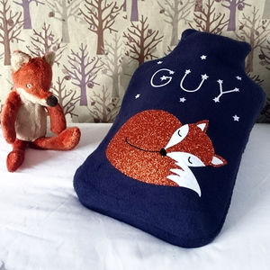 Sleeping Fox Personalised Hot Water Bottle Cover - hot water bottles & covers