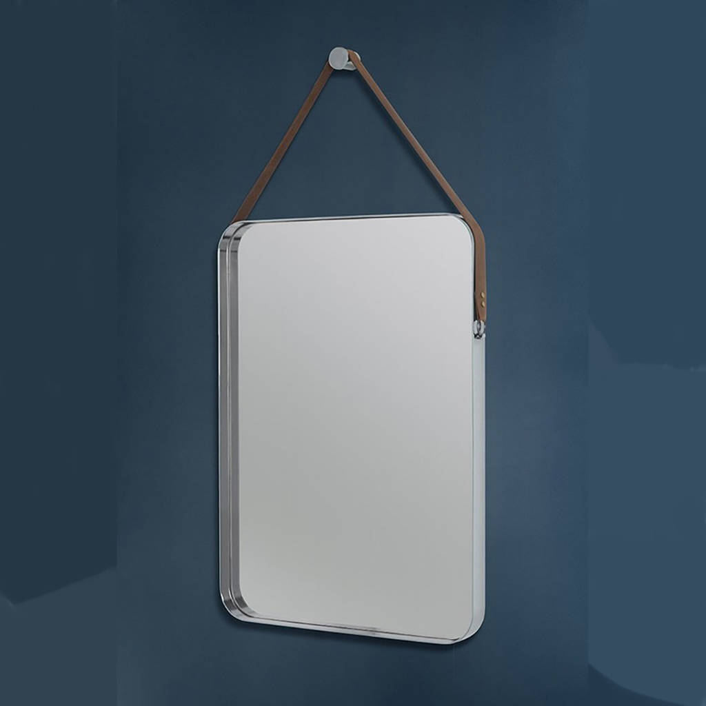 Rectangular stainless steel and leather hanging mirror by for Hanging mirror