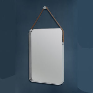 Rectangular Stainless Steel And Leather Hanging Mirror