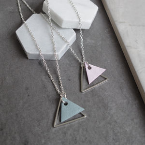 Leather Triangle Charm Necklace