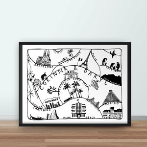 Personalised Travel Adventures Map Print - gifts for him