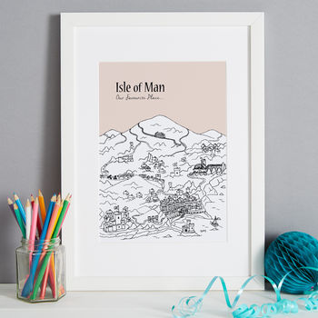Isle of Man print in colour 2-blush, font style 2