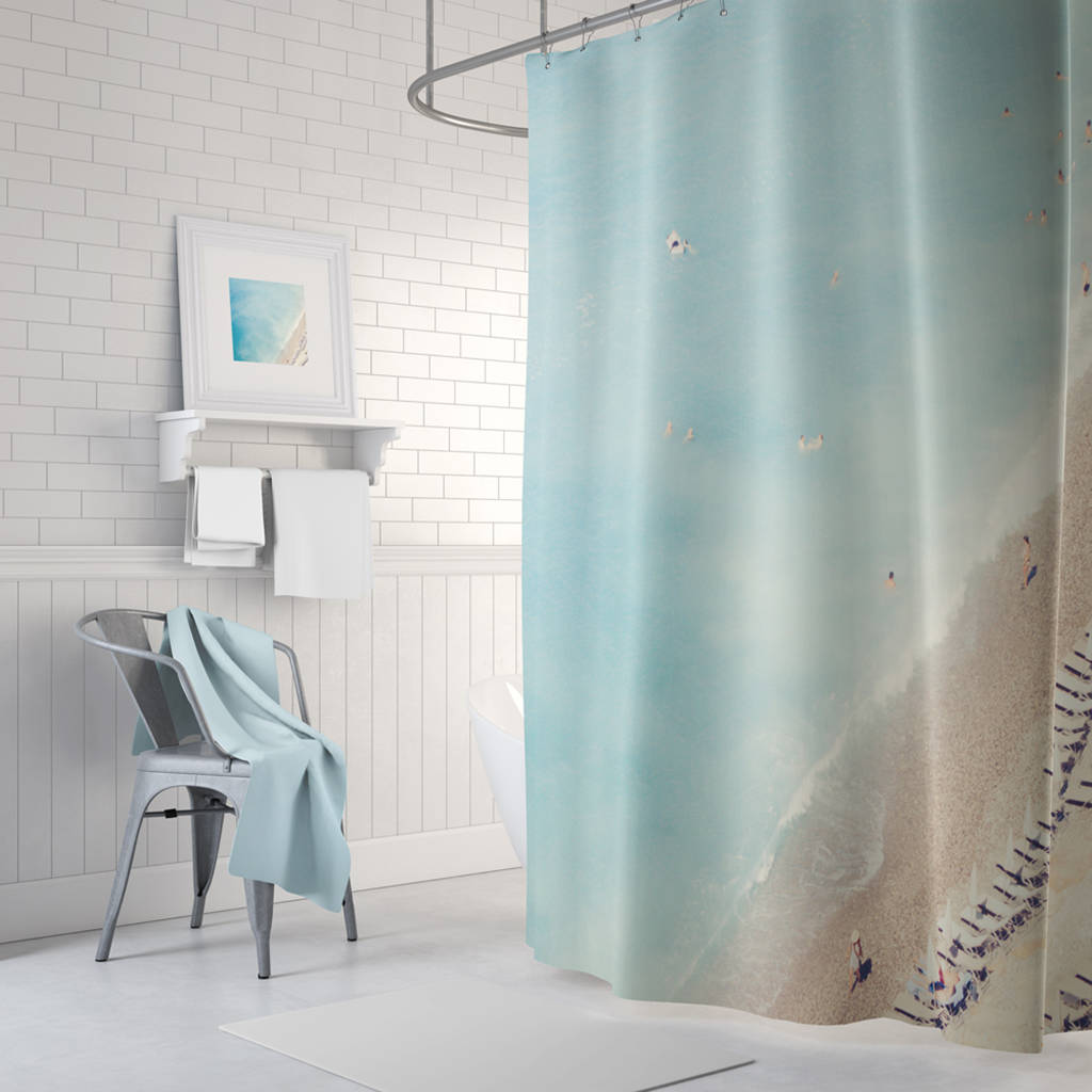 French Riviera Beach Scene Shower Curtain