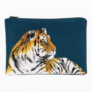 Tiger Printed Silk Zipped Bag - make-up & wash bags