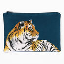 Tiger Printed Silk Zipped Bag