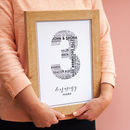 personalised typography wedding anniversary print