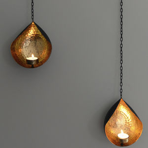 Hanging Gold And Black Tea Light Holder - lanterns & votives