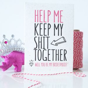 Funny 'Will You Be My Bridesmaid?' Card - be my bridesmaid?
