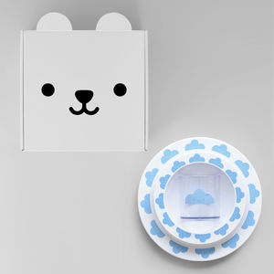 Happy Cloud Plate, Cup And Bowl Gift Set Blue