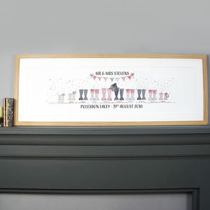 Personalised Panoramic Wedding Welly Boot Print