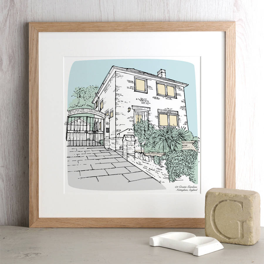 Personalised house portrait by letterfest Gifts for home builders