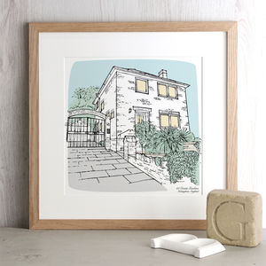 Personalised House Portrait Print - gifts for fathers