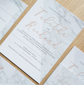 Modern Marble Wedding Invitation - invitations