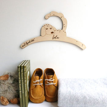 Personalised Childrens Coat Hanger With Dog Design