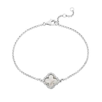 Sterling Silver And Mother Of Pearl Clover Bracelet
