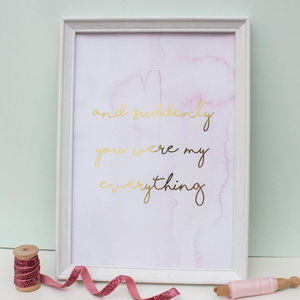 Gold Foil My Everything Nursery Print - pictures & prints for children