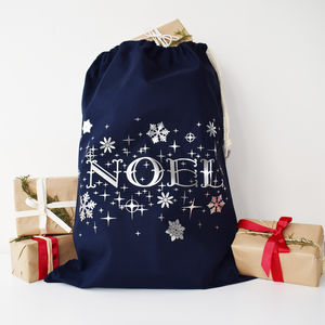 Silver And Navy Noel Christmas Sack - stockings & sacks