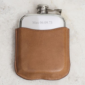 Renard Personalised Solid Pewter Hip Flask - gifts for him sale