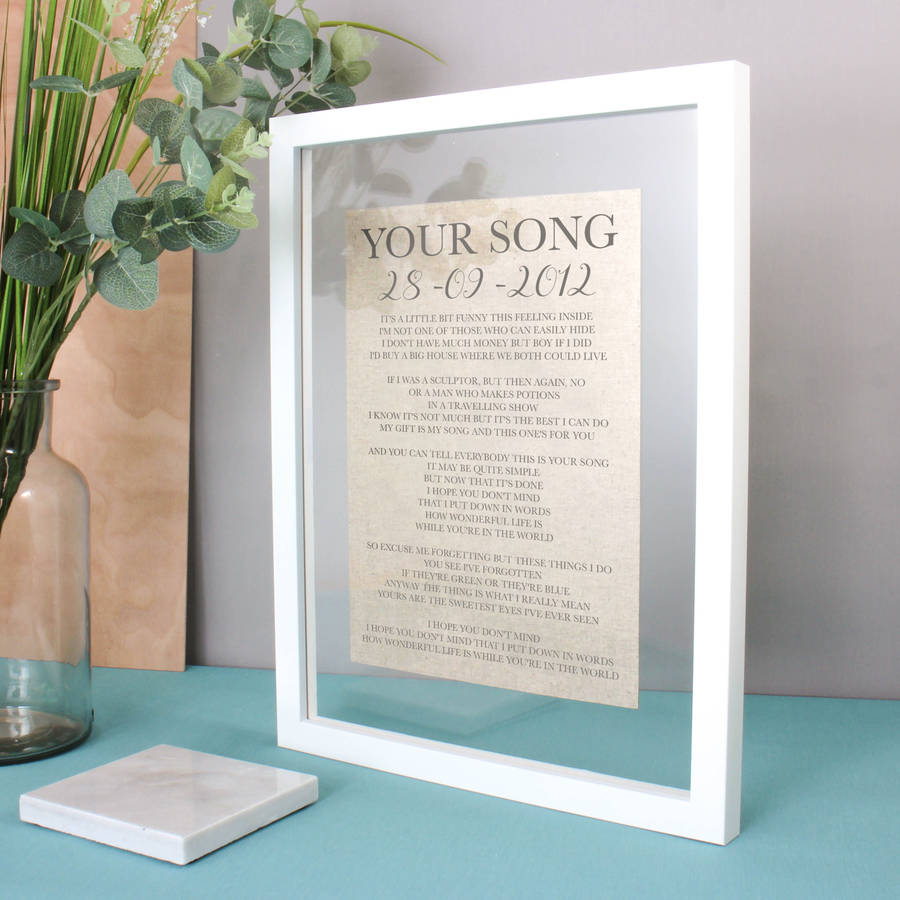 Linen Anniversary Lyrics/vows Print By No Ordinary Gift