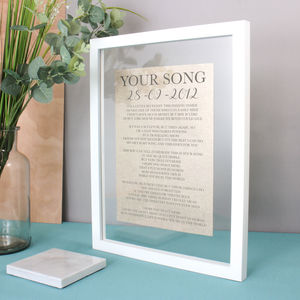 Linen Anniversary Lyrics/Vows Print - 2nd anniversary: cotton