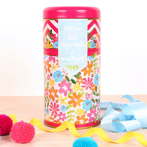 Bright Floral Duo Tin Of Hot Chocolate And Mallows